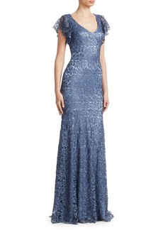 Theia Flutter-Sleeve Lace Gown