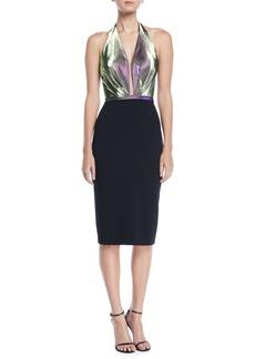 Theia Halter Duochrome & Crepe Dress