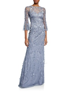 Theia Hand Beaded & Petal Applique 3/4 Bell-Sleeve Column Gown
