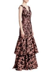 Theia Jacquard Floral Tiered Ruffle Gown