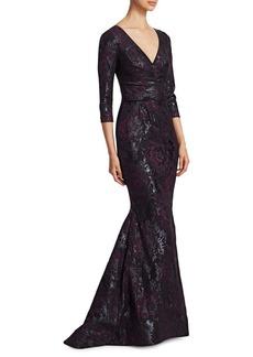 Theia Jacquard Mermaid Dress
