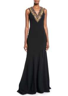 Theia Jeweled Necklace Sleeveless Trumpet Gown
