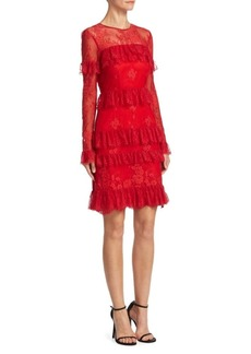 Theia Lace Tiered Cocktail Dress