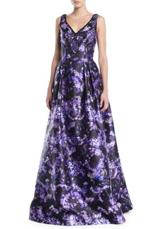 Theia Lilac-Print Sleeveless Ball Gown w/ Pockets
