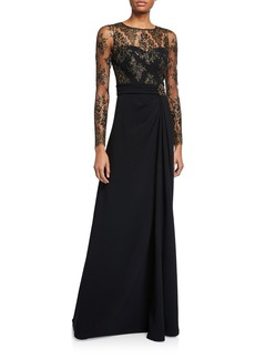 Theia Long Lace-Sleeve Gown