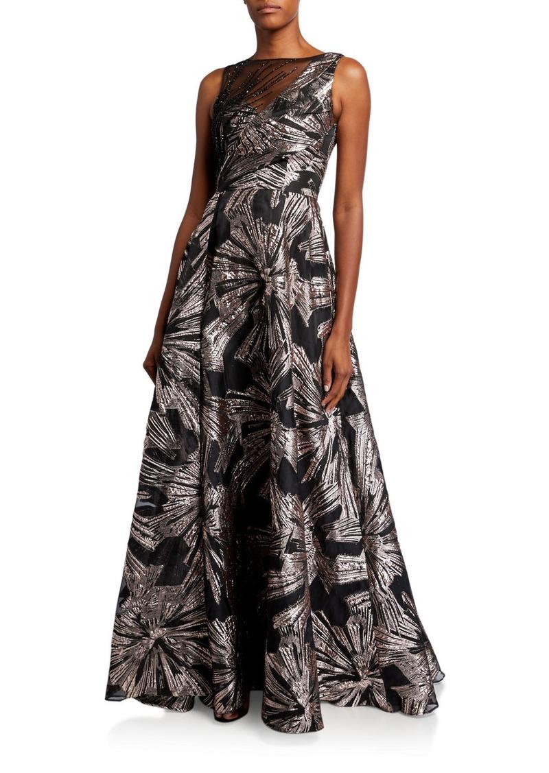 Theia Metallic Brocade Sleeveless Asymmetric Bodice Gown