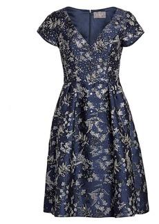 Theia Metallic Floral Jacquard Dress