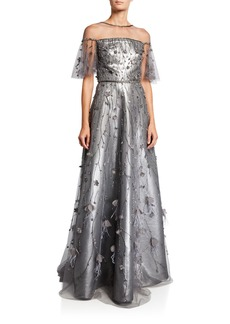 Theia Metallic Flutter-Sleeve Illusion Gown with Beaded Tulle
