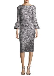 Theia Metallic Jacquard Trumpet-Sleeve Cocktail Dress