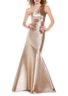 Theia Metallic Lamé-Silk Mermaid Gown