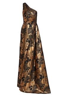 Theia Metallic One-Shoulder Gown