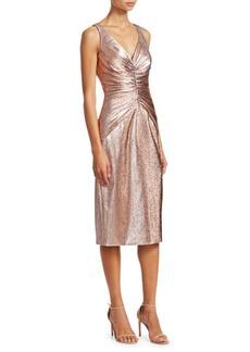 Theia Metallic Ruched Midi Dress