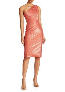 Theia Metallic Silk-Jacquard One-Shoulder Sheath Dress