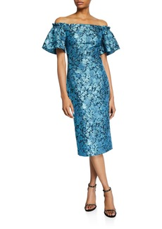 Theia Metallic Tissue Faille Off-Shoulder Flare-Sleeve Cocktail Dress