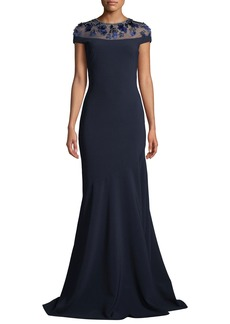 Theia Novelty Illusion Gown w/ Paillettes