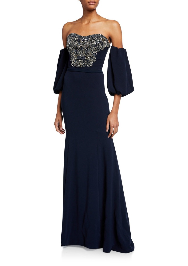Theia Off-the-Shoulder Balloon-Sleeve Beaded Column Gown