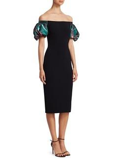 Theia Off-The-Shoulder Lamé Cocktail Dress