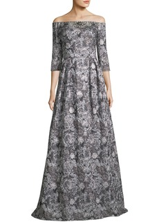 Theia Off-the-Shoulder Metallic Brocade 3/4 Sleeve Evening Gown