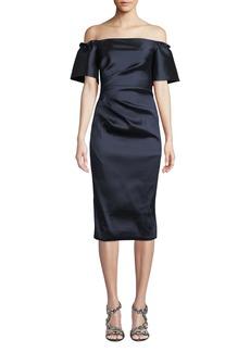 Theia Off-the-Shoulder Stretch Taffeta Dress