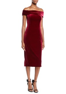 eca7ef0490 Theia Ruched-Sleeve Cloque Cocktail Dress