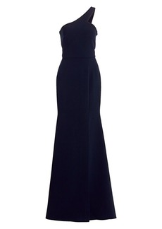 Theia One-Shoulder Crepe Gown