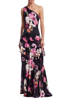 Theia One-Shoulder Floral Gown