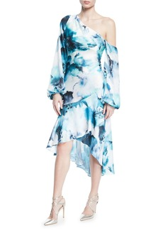 Theia One-Shoulder Hi-Low Tie-Dye Dress w/ Blouson-Sleeves