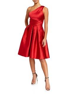 Theia One-Shoulder Sleeveless Pebble Mikado Party Dress