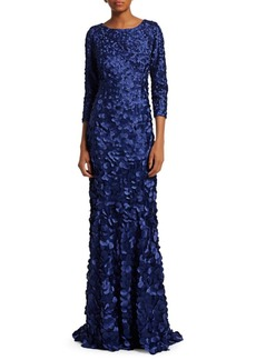 Theia Petal Embellished Tulip Gown