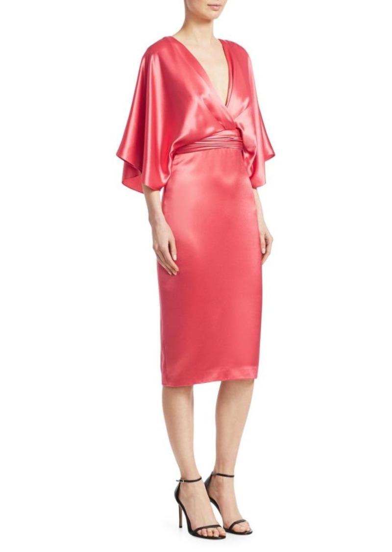Theia Quarter-Sleeve Cocktail Dress