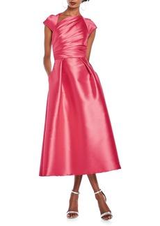 Theia Ruche Faille Satin A-Line Dress