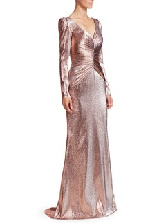 Theia Ruched Metallic Lamé Gown