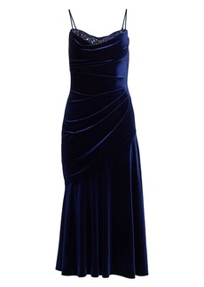 Theia Ruched Velvet Cocktail Dress