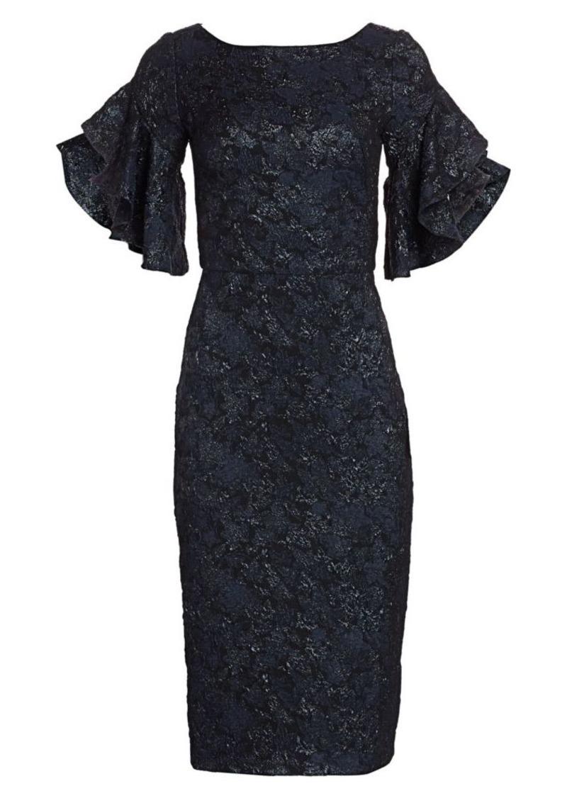 Theia Ruffle-Sleeve Cloqué Cocktail Dress