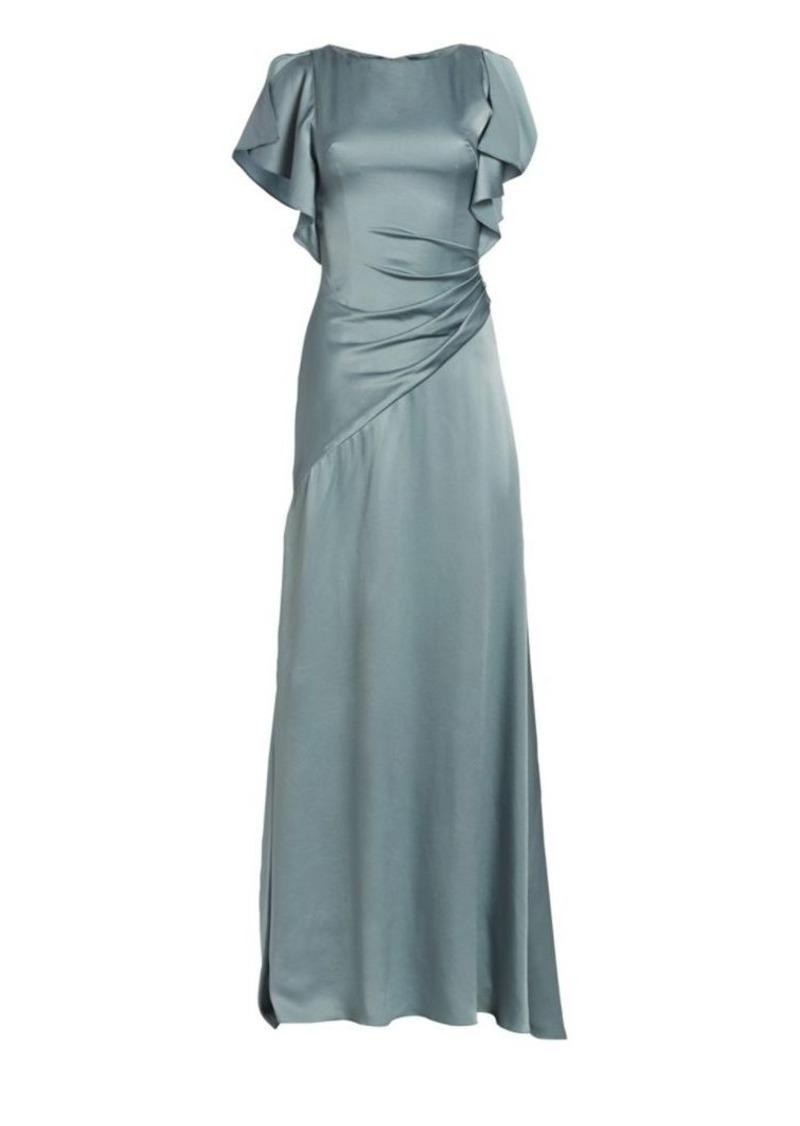 Theia Satin Asymmetric Ruched Gown