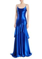 Theia satin slip gown w flounce skirt abvda99bbe7 a