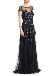 Theia Sequined Cap-Sleeve Gown
