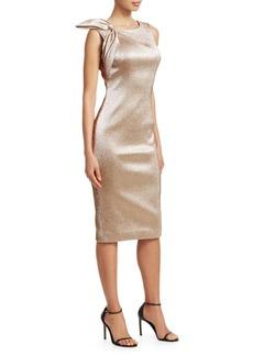 Theia Shoulder Bow Metallic Cocktail Dress