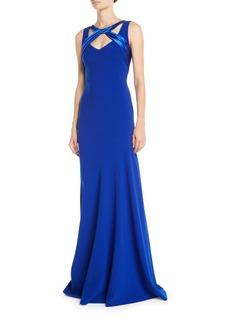 Theia Sleeveless Crepe Gown w/ Satin Crisscross