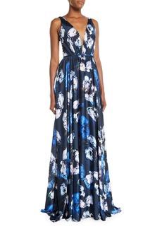 Theia Sleeveless Digital Floral-Print Charmeuse Gown