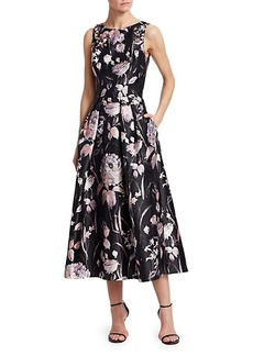 Theia Sleeveless Embellished Floral Tea-Length Dress