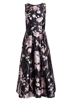 Theia Sleeveless Embellished Floral Tea-Length Dress