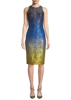 Theia Sleeveless Ombre Dress w/ Lace Yoke