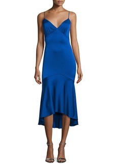 Theia Sleeveless V-Neck High-Low Cocktail Dress