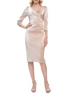 Theia Sparkle Puff-Sleeve Wrap Dress