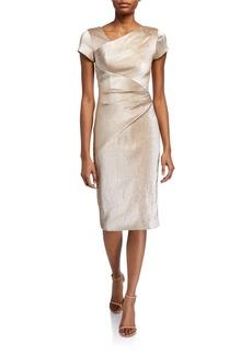 Theia Stretch Metallic Cap-Sleeve Asymmetrical Draped Sheath Dress