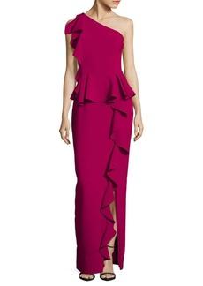 Theia Asymmetrical Ruffle Gown