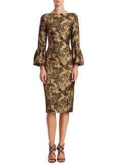 Theia Bell-Sleeve Jacquard Dress