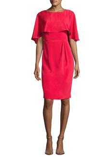 Theia Cape-Sleeve Stretch Silk Cocktail Dress