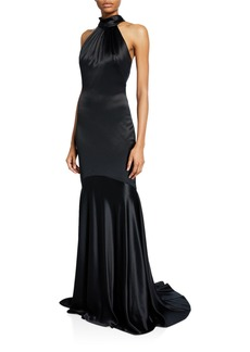 Theia Charm Tie-Back Halter Gown with Godet Hem